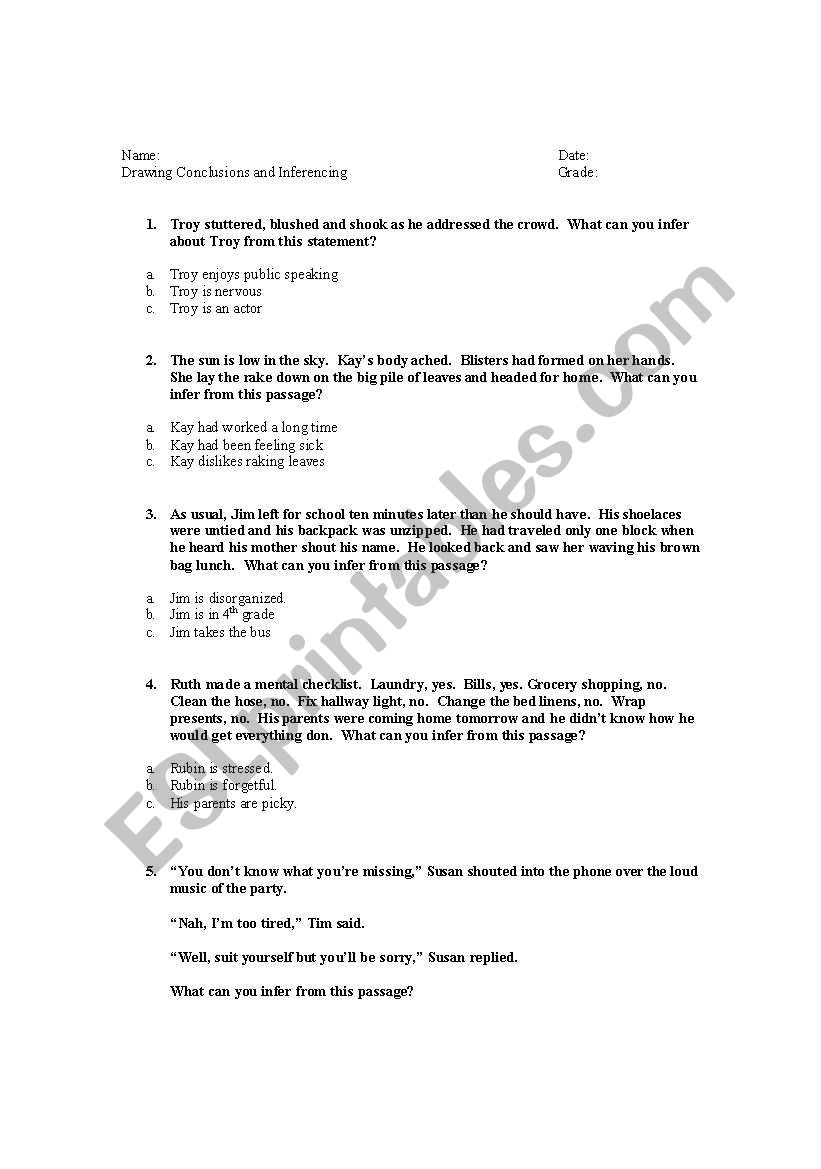 medium resolution of Drawing Conclusions/Inferencing - ESL worksheet by sallystay