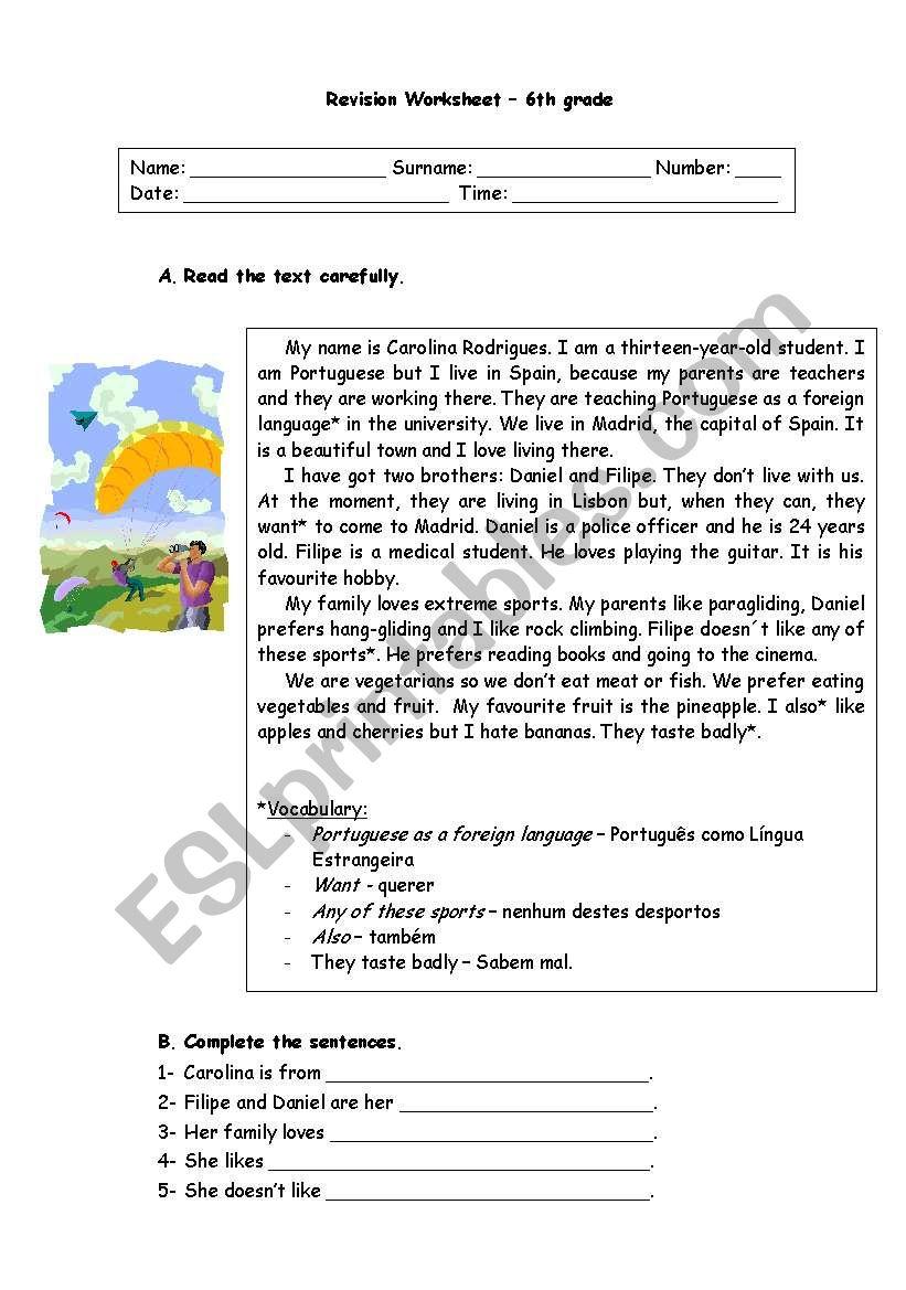 hight resolution of 6th grade revision worksheet - ESL worksheet by ritinha23