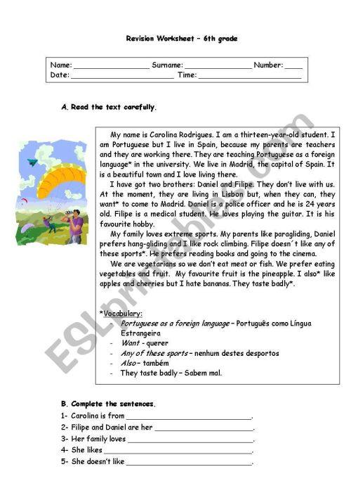 small resolution of 6th grade revision worksheet - ESL worksheet by ritinha23
