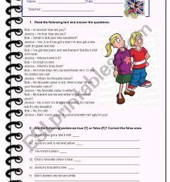 5th Grade January Test - ESL worksheet by Diana Parracho [ 1169 x 821 Pixel ]
