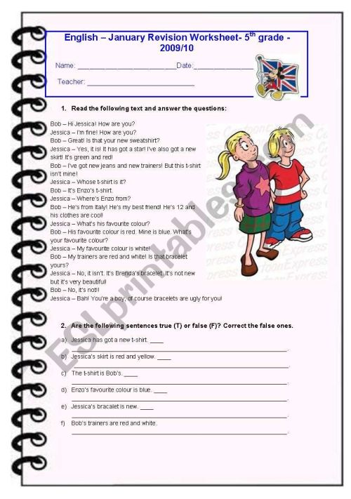 small resolution of 5th Grade January Test - ESL worksheet by Diana Parracho