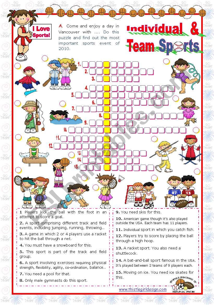 Crossword Puzzle Gallery English Worksheets Sports Set 4 Individual And Team Of