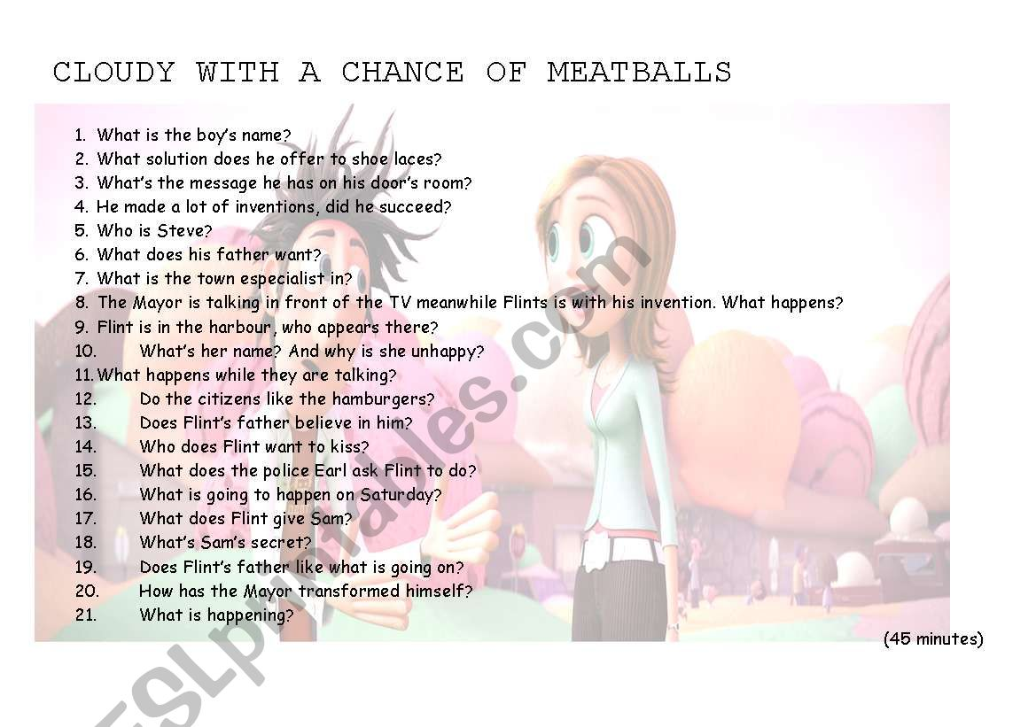 English Worksheets Cloudy With A Chance Of Meatballs Part 1