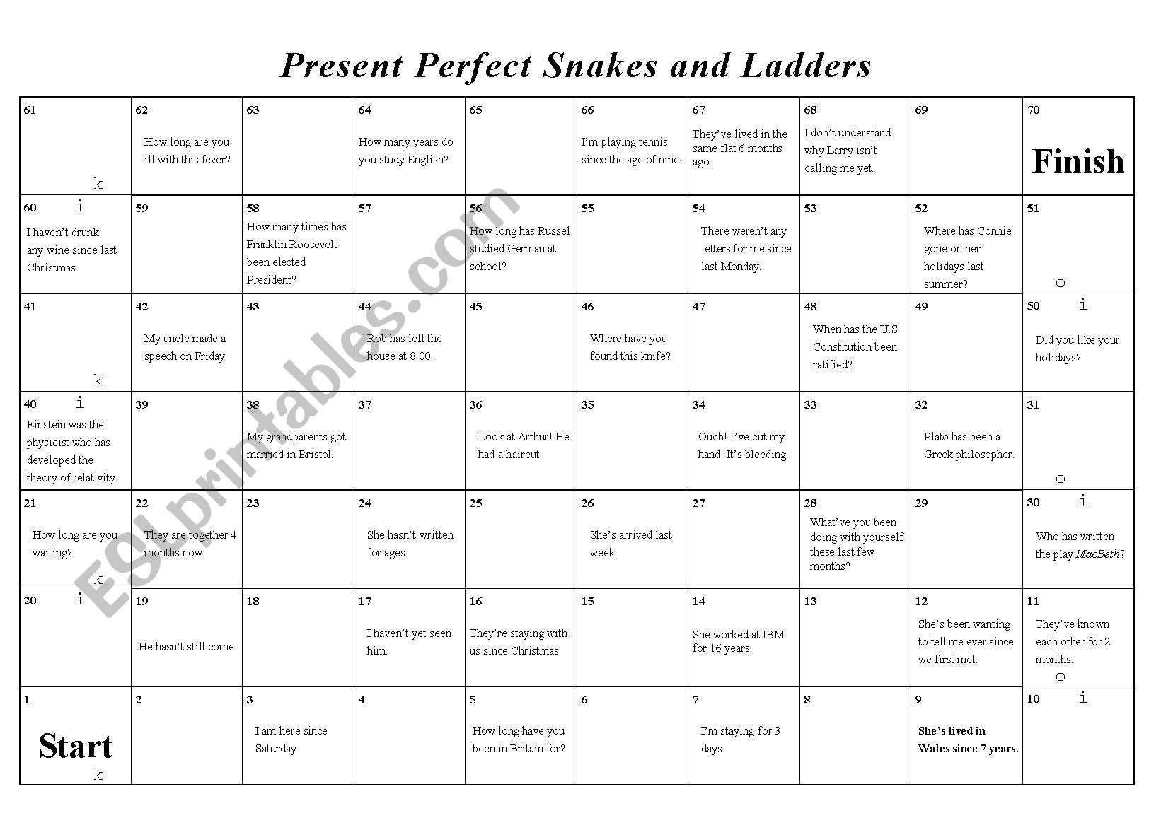 Present Perfect Snakes Amp Ladders
