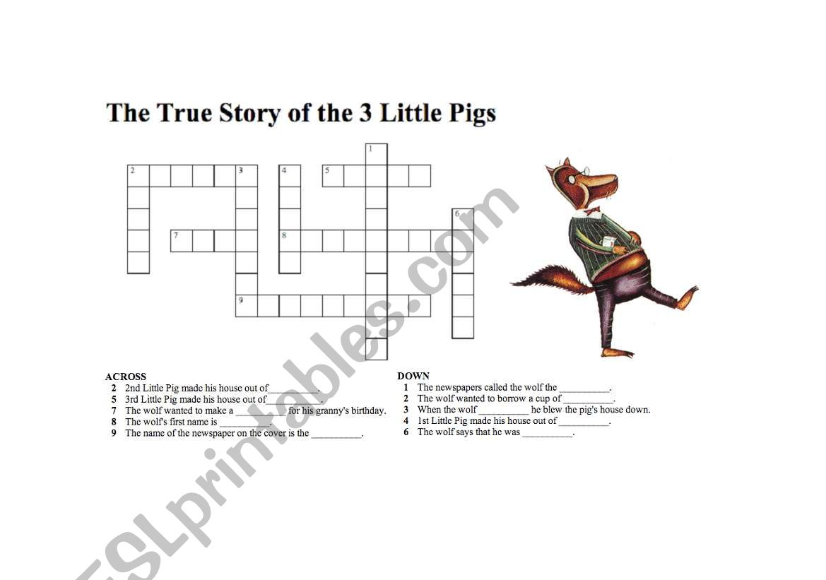 English Worksheets True Story Of The Three Little Pigs