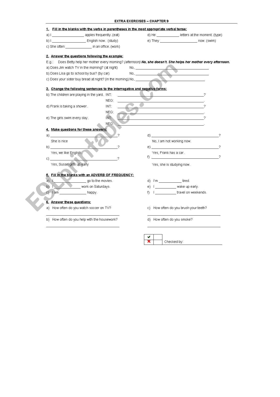English Worksheets Adverbs Of Frequency