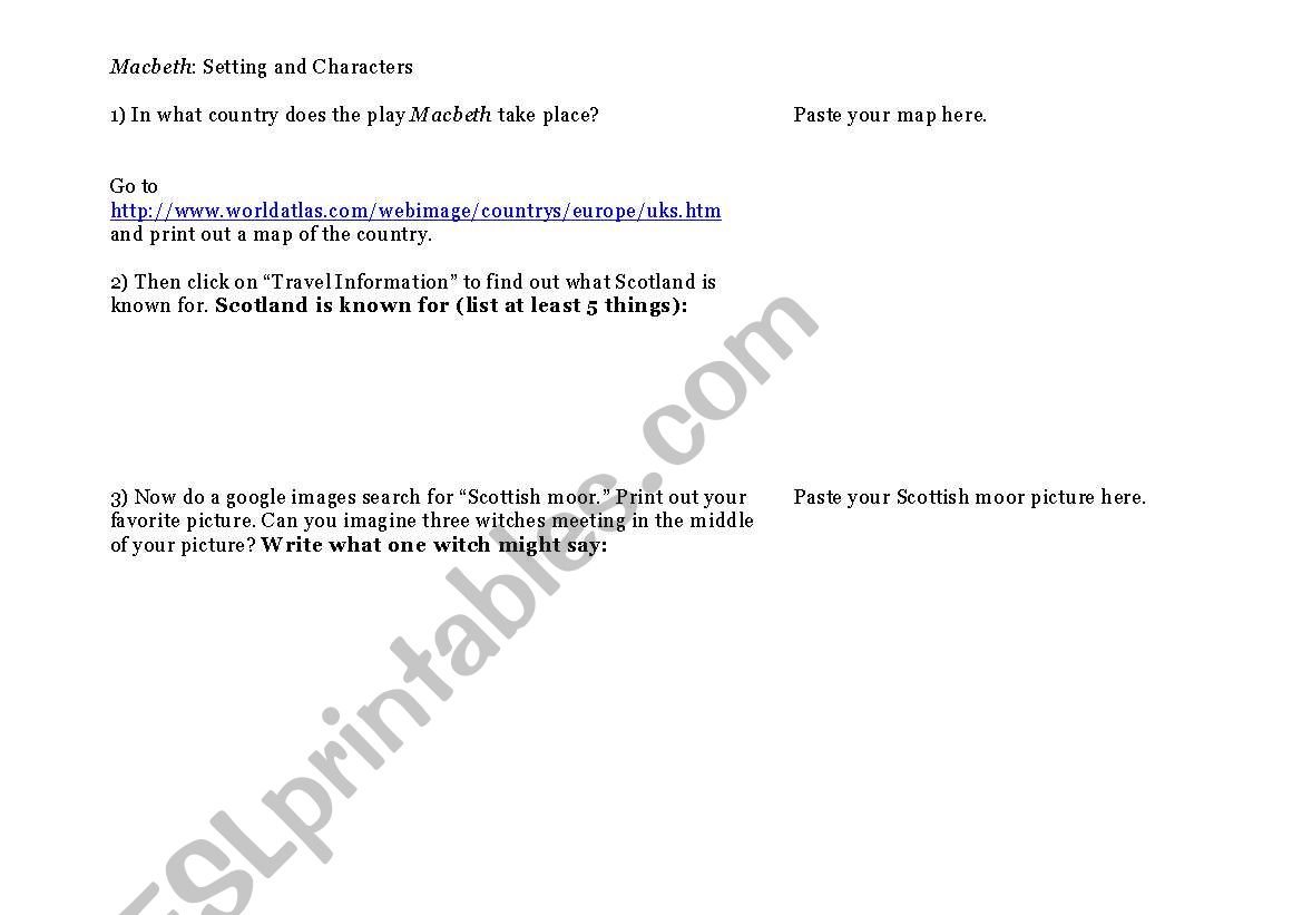 English Worksheets Macbeth Setting And Characters Act I