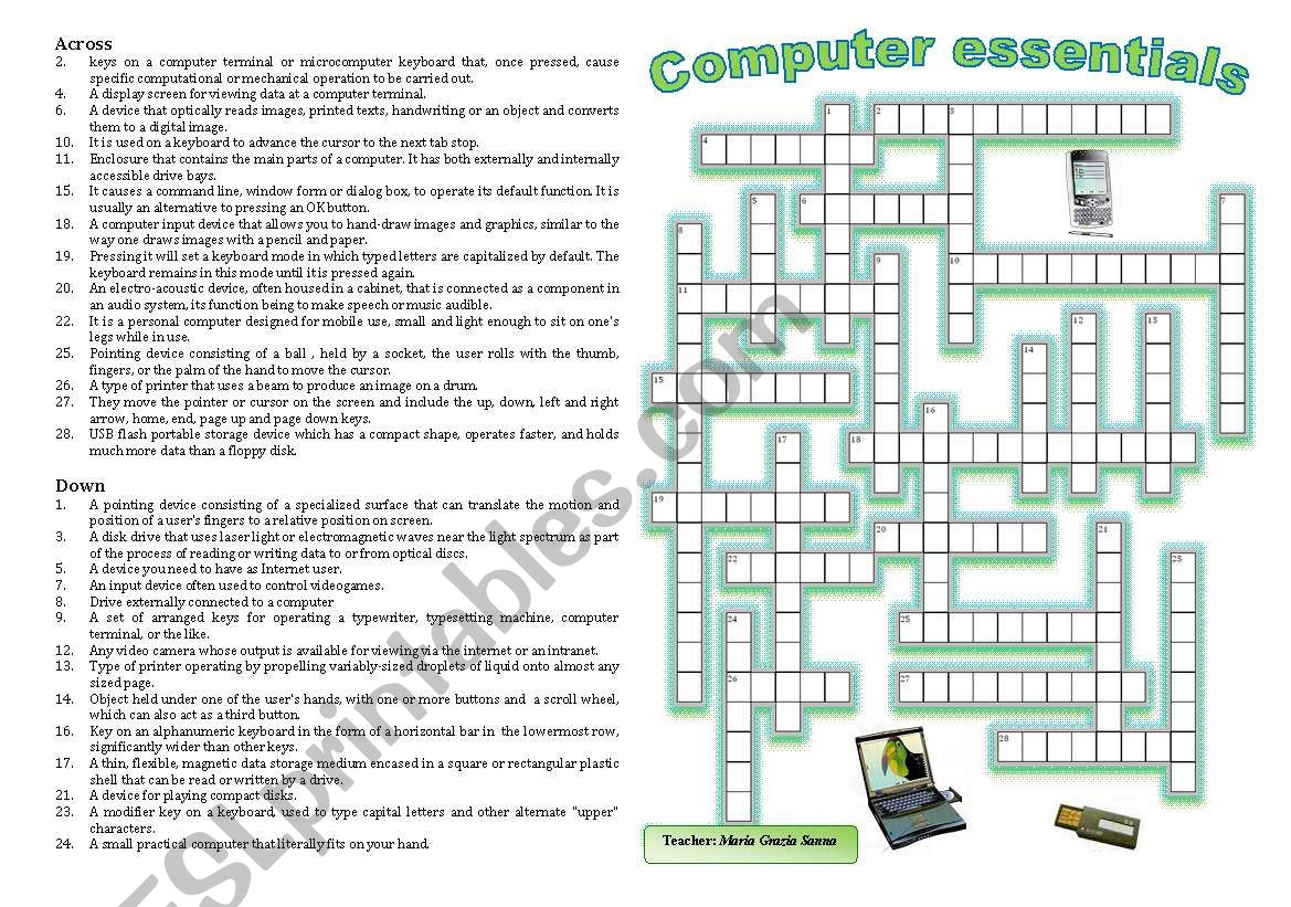 Computers And Peripherals Crossword Puzzle
