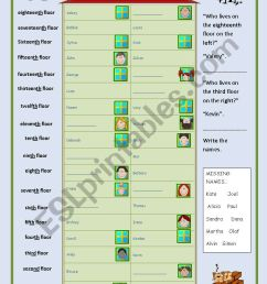 Neighbours (ordinals communicative game) - ESL worksheet by occurin´ [ 1169 x 821 Pixel ]