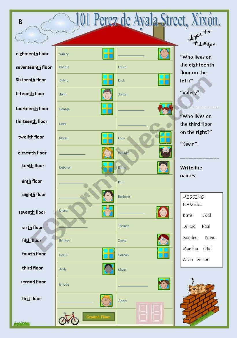 medium resolution of Neighbours (ordinals communicative game) - ESL worksheet by occurin´