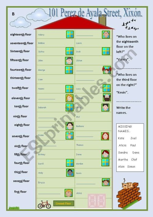 small resolution of Neighbours (ordinals communicative game) - ESL worksheet by occurin´