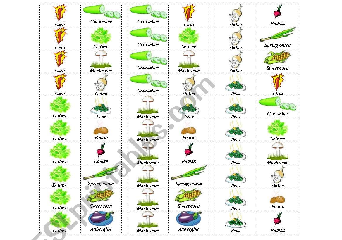 English Worksheets Vegetables Dominos 5 Of 6