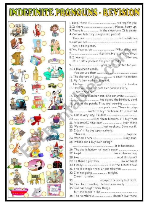small resolution of Indefinite pronouns Revision (BW + key) - ESL worksheet by Jazuna