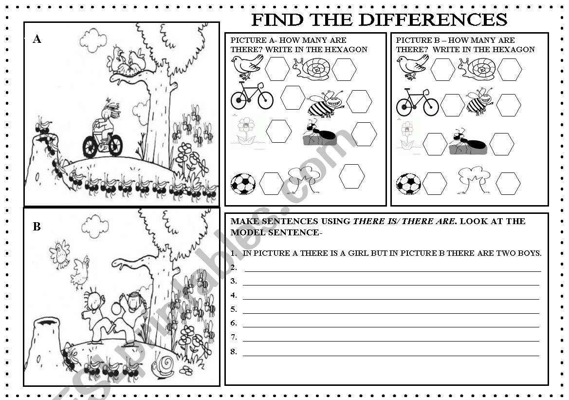 Find The Difference Worksheets