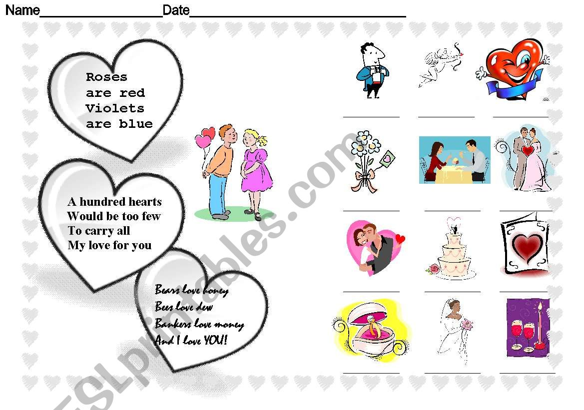 Happy St Valentine Day Worksheet