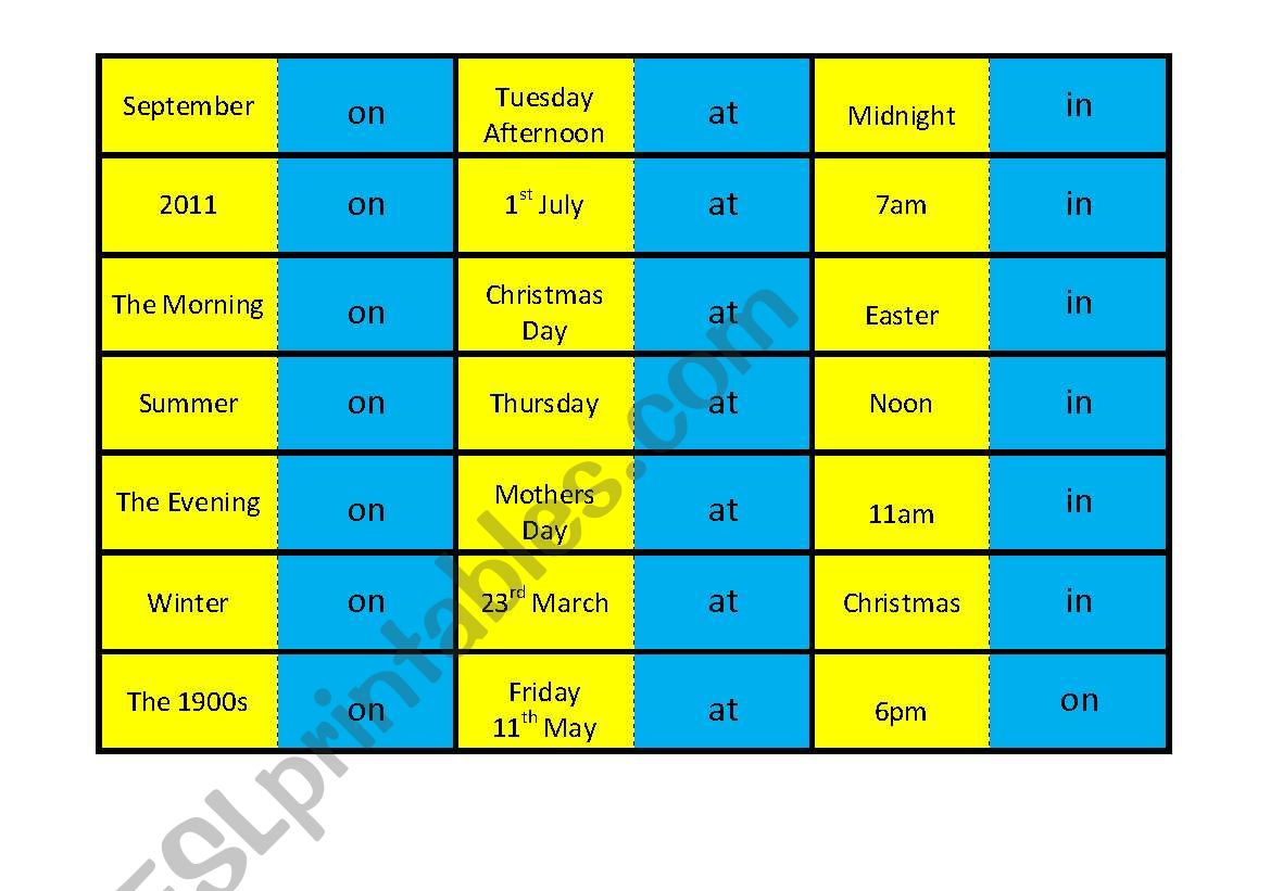 Preposition Of Time Dominos