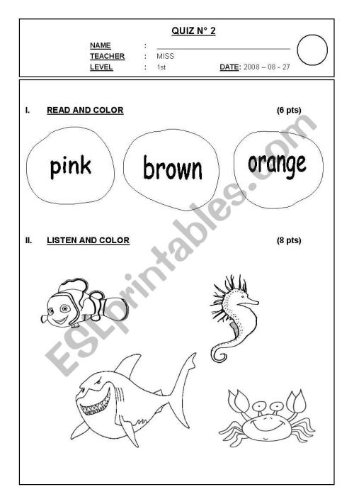 small resolution of English worksheets: SEA ANIMALS 1ST GRADE TEST