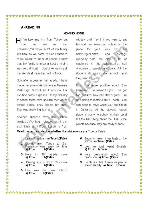 small resolution of Mixed tense reading exercise - ESL worksheet by bpksn