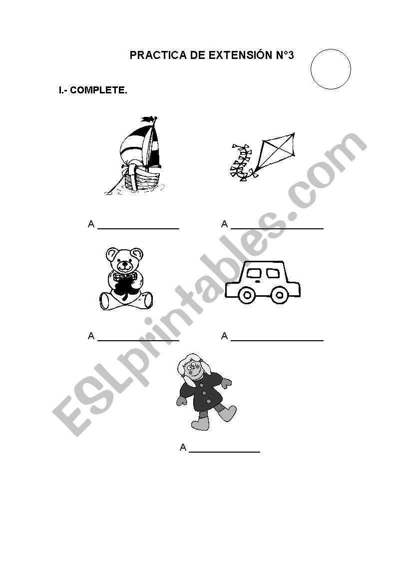 English worksheets: TEST ABOUT TOYS (1st GRADE)