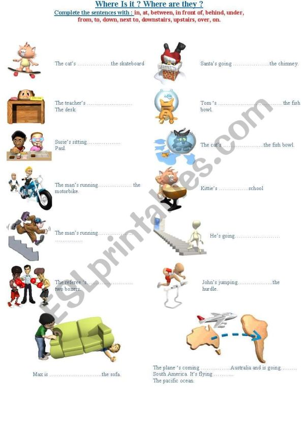 Prepositions - Esl Worksheet French Bird