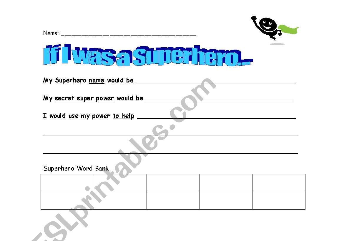 English Worksheets If I Was A Superhero