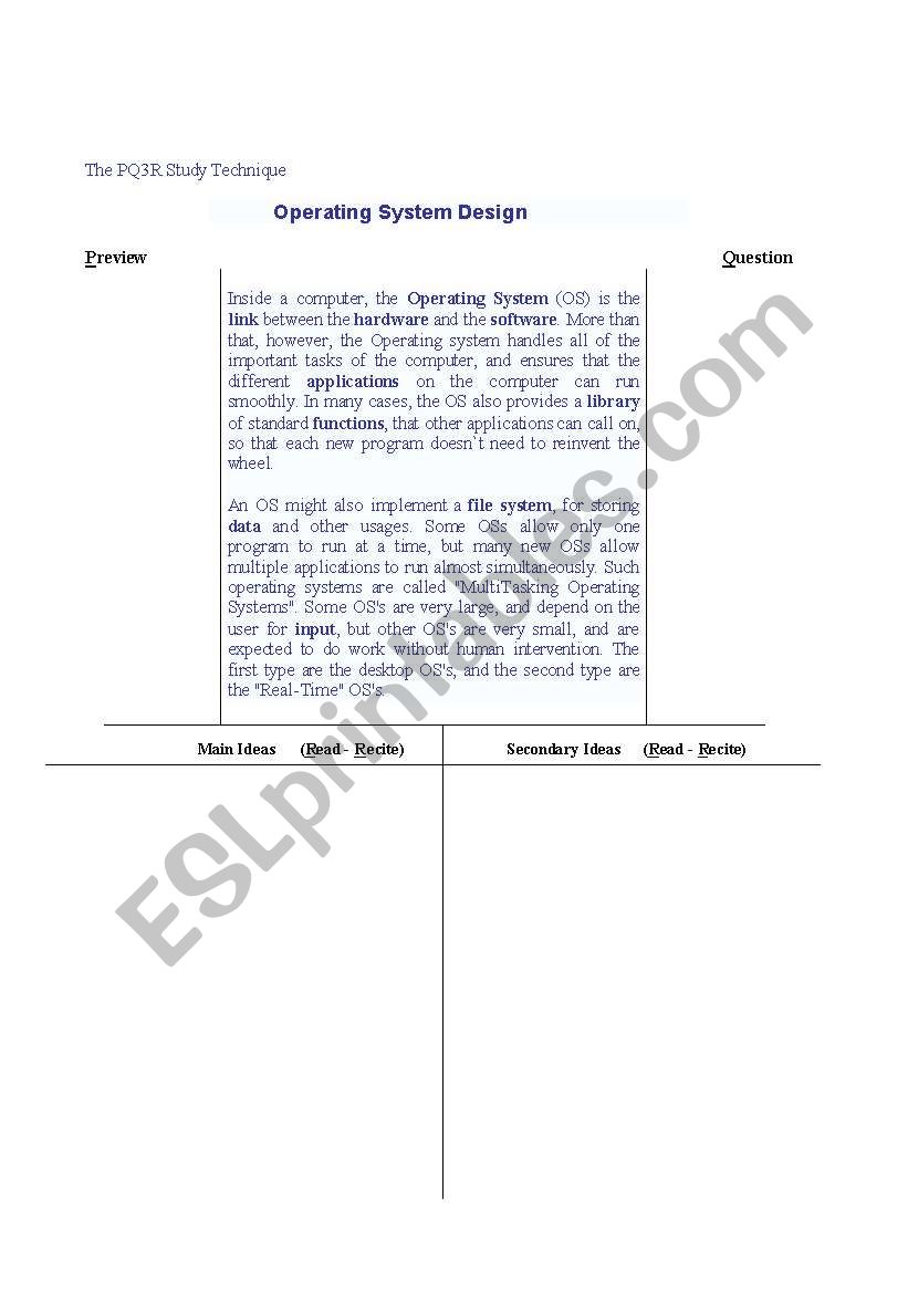 English worksheets: The PQ3R Study Technique / Operating