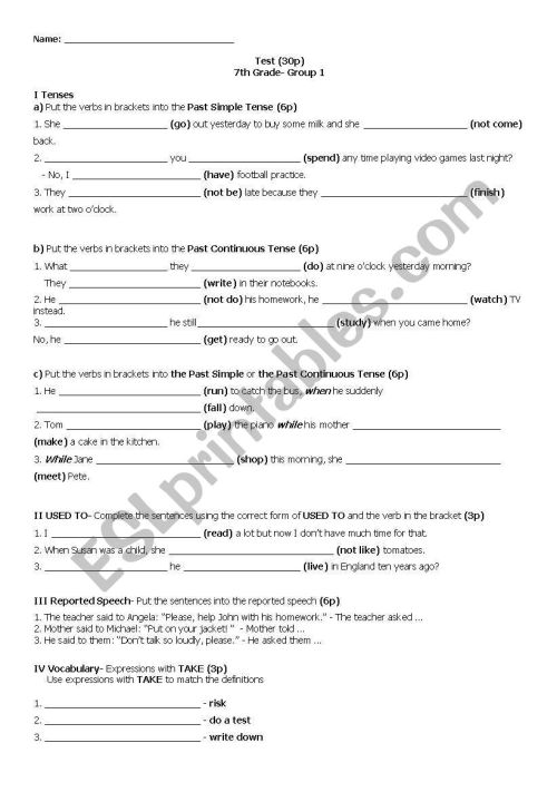 small resolution of English worksheets: 7th Grade Test_2_Group 1 with KEY