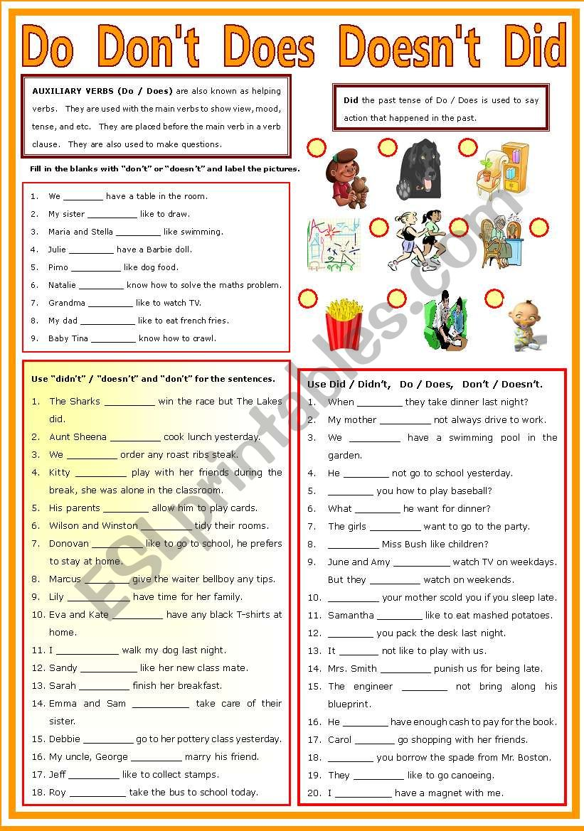 medium resolution of Auxiliary Verb - Do - Don´t - Does - Doesn´t - Did - ESL worksheet by  shusu-euphe