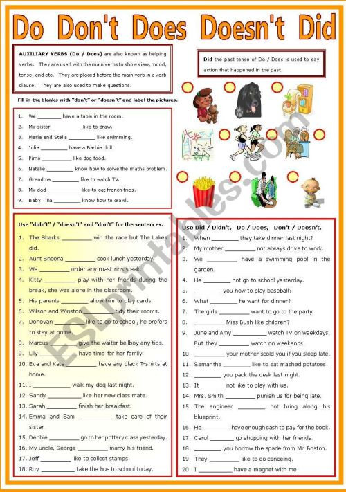 small resolution of Auxiliary Verb - Do - Don´t - Does - Doesn´t - Did - ESL worksheet by  shusu-euphe