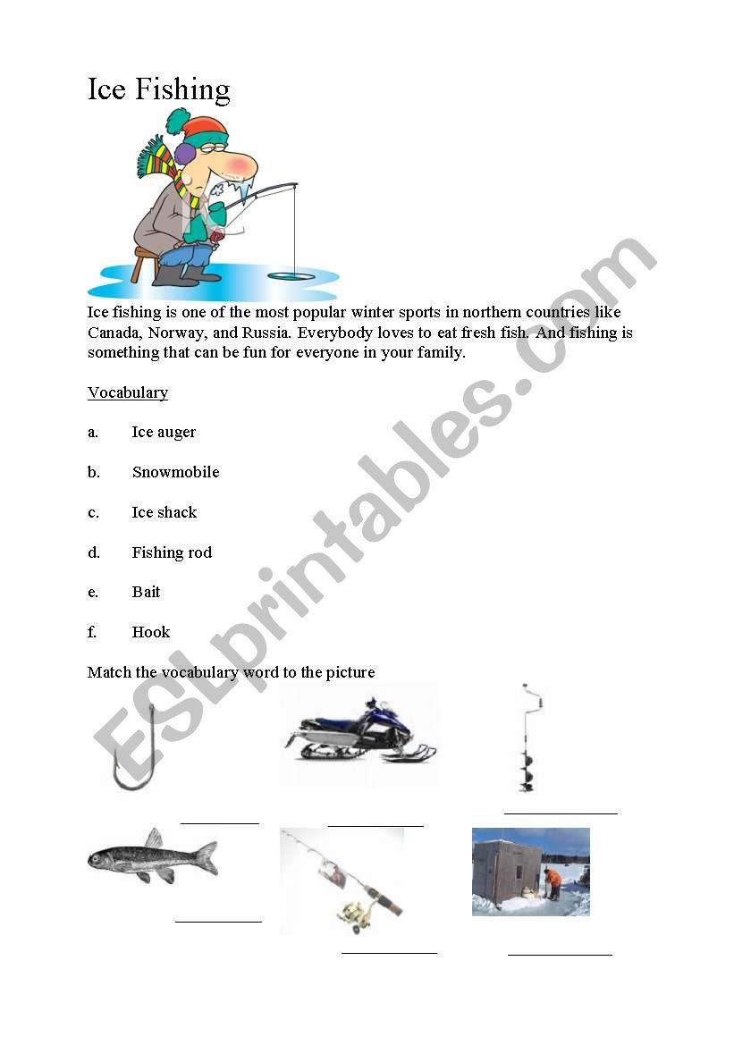 English Worksheets Ice Fishing Vocabulary