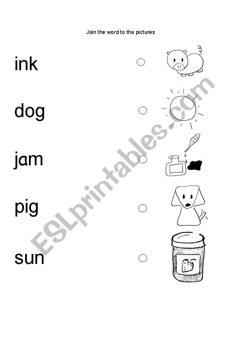 English worksheets: CVC matching picture to word
