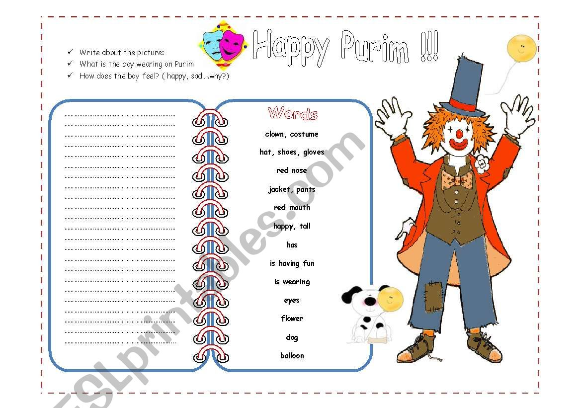 Happy Purim Picture Writing 2 Pages