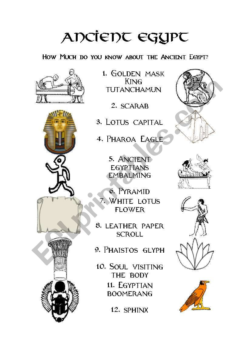 hight resolution of Ancient Egypt - ESL worksheet by evacufu