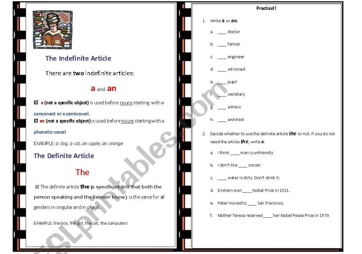 Indefinite And Definite Articles