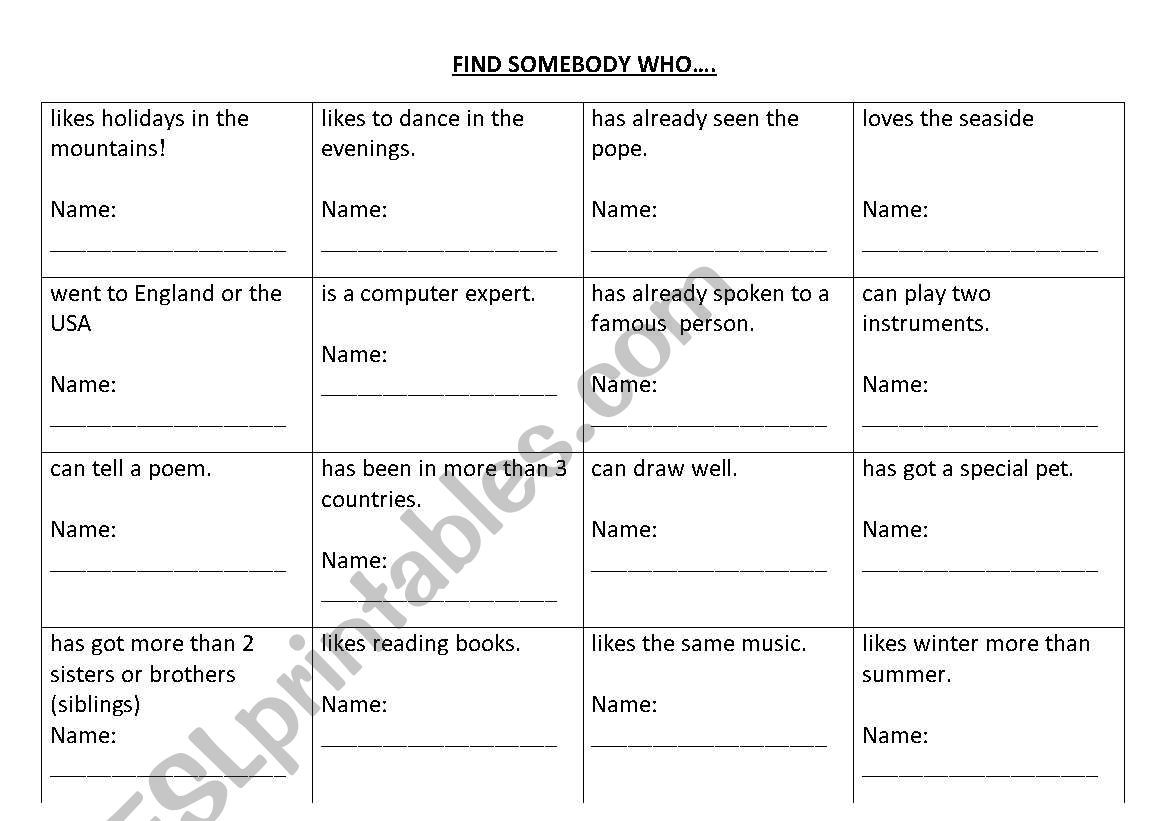 English Worksheets Find Somebody Who