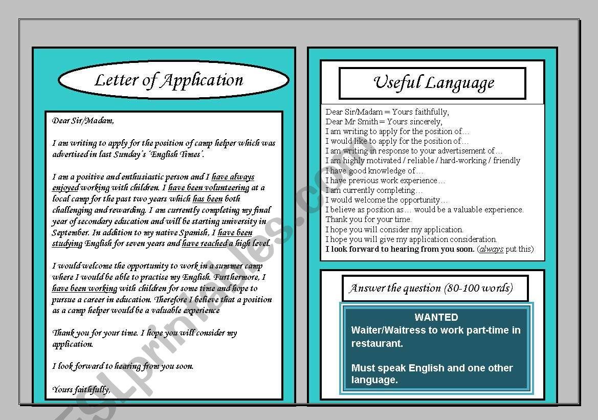 Letter Of Application Intermediate Writing Guide Homework