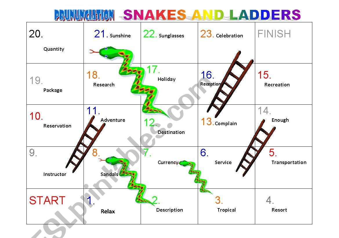 Pronunciation Stress Patterns Snakes And Ladders