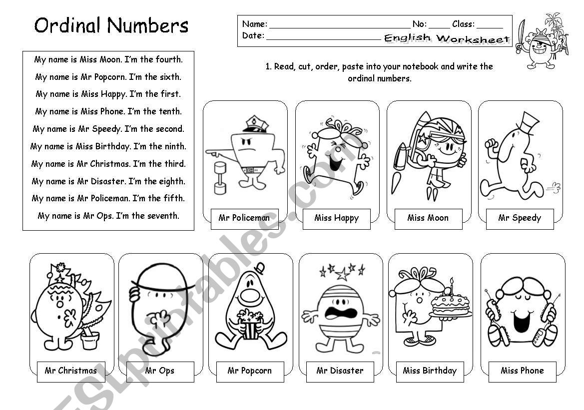 Ordinal Numbers With Mr Men And Little Miss