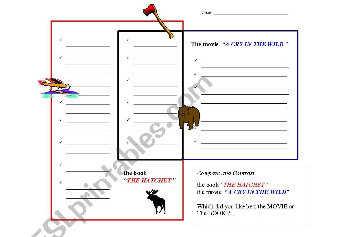 English Worksheets Compare And Contrast