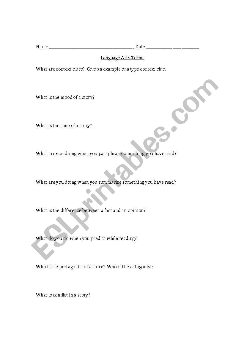English worksheets: Language Arts Terms Pre-Test