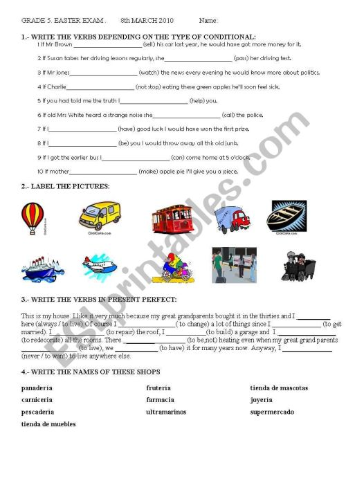 small resolution of GRADE 5 EASTER EXAM - ESL worksheet by yoanalop