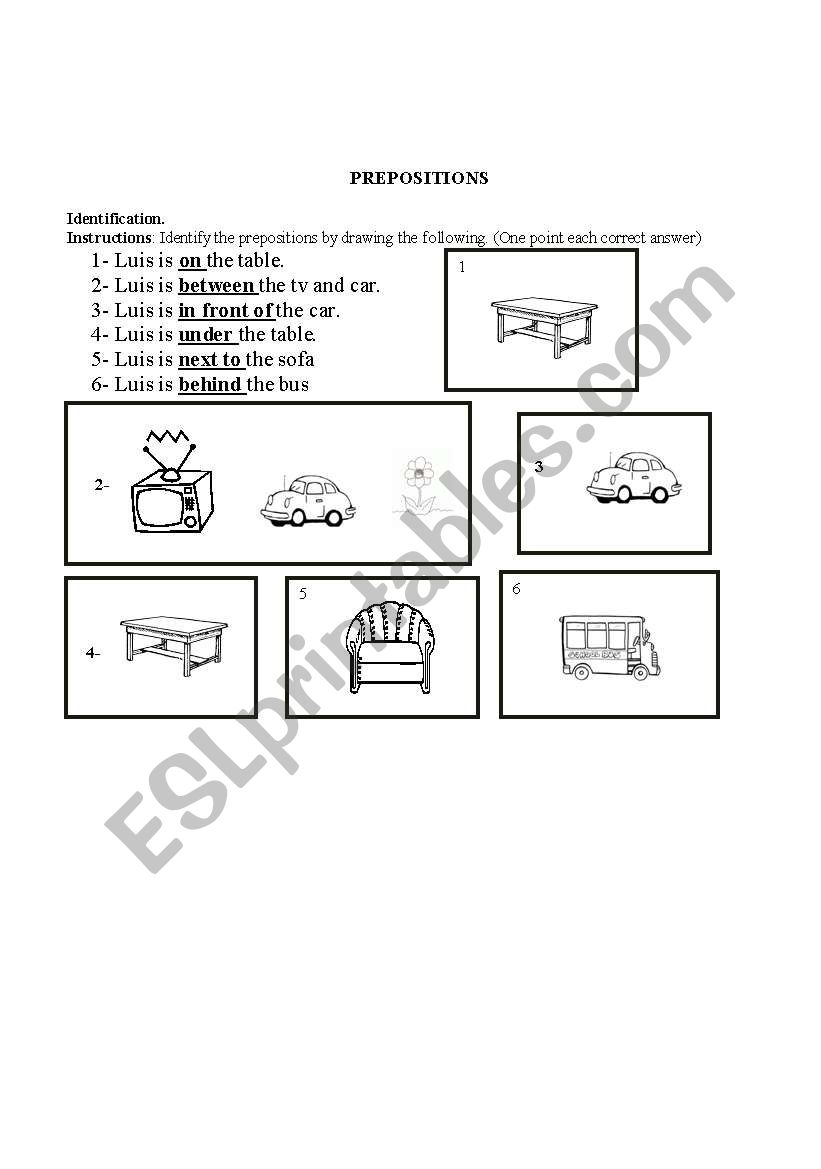 English worksheets: PREPOSITIONS OF PLACE
