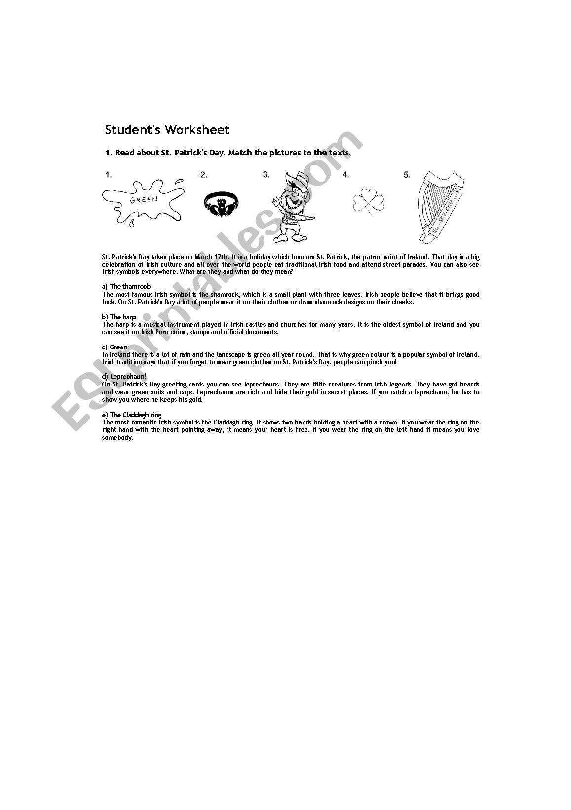 Worksheet For St Patrick S Day