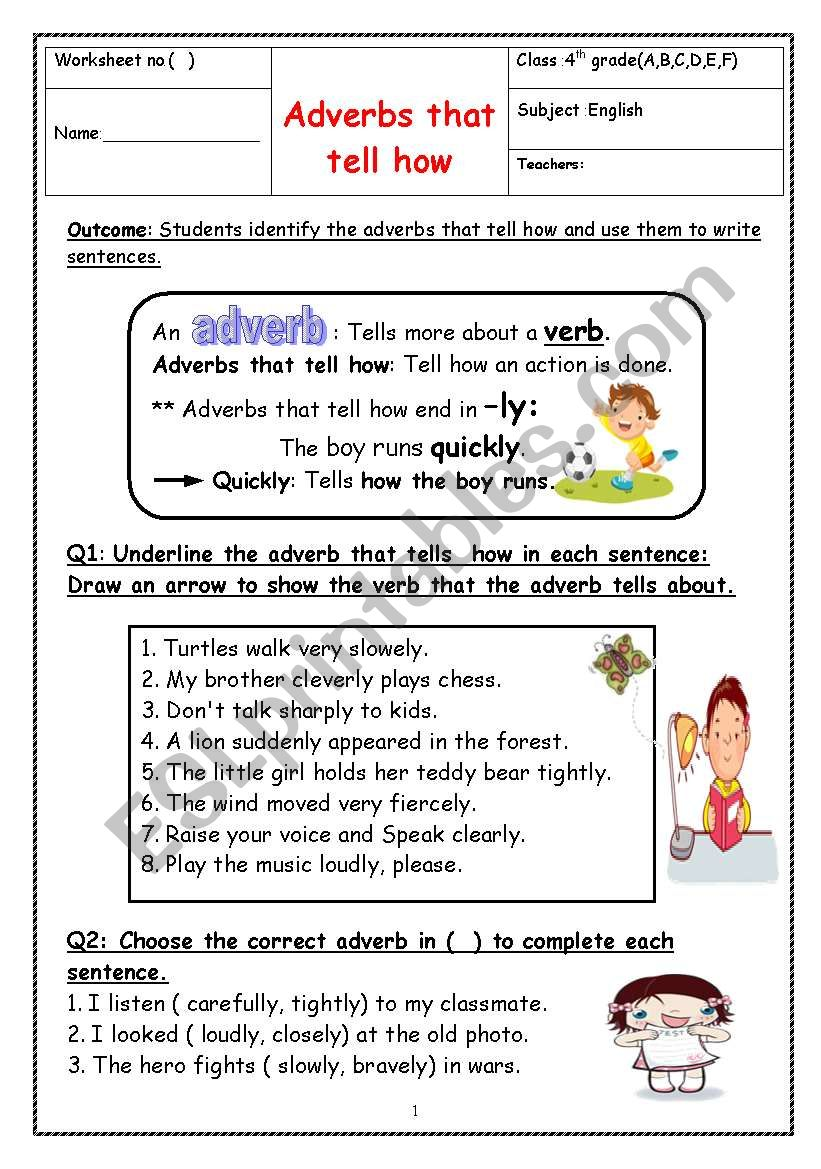medium resolution of adverbs - ESL worksheet by manar.k