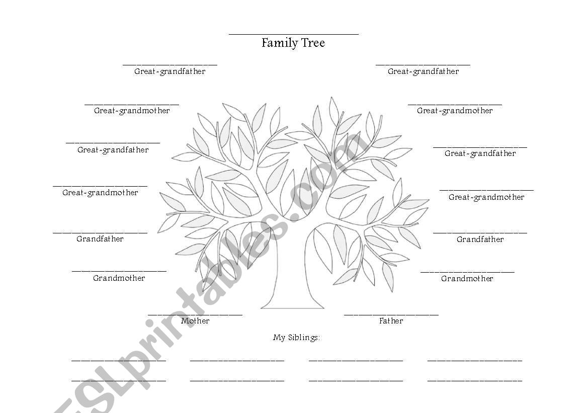 English Worksheets Family Tree Chart