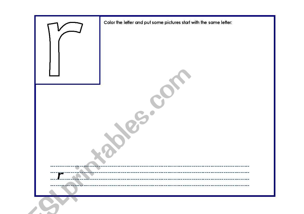 English Worksheets The Letter R