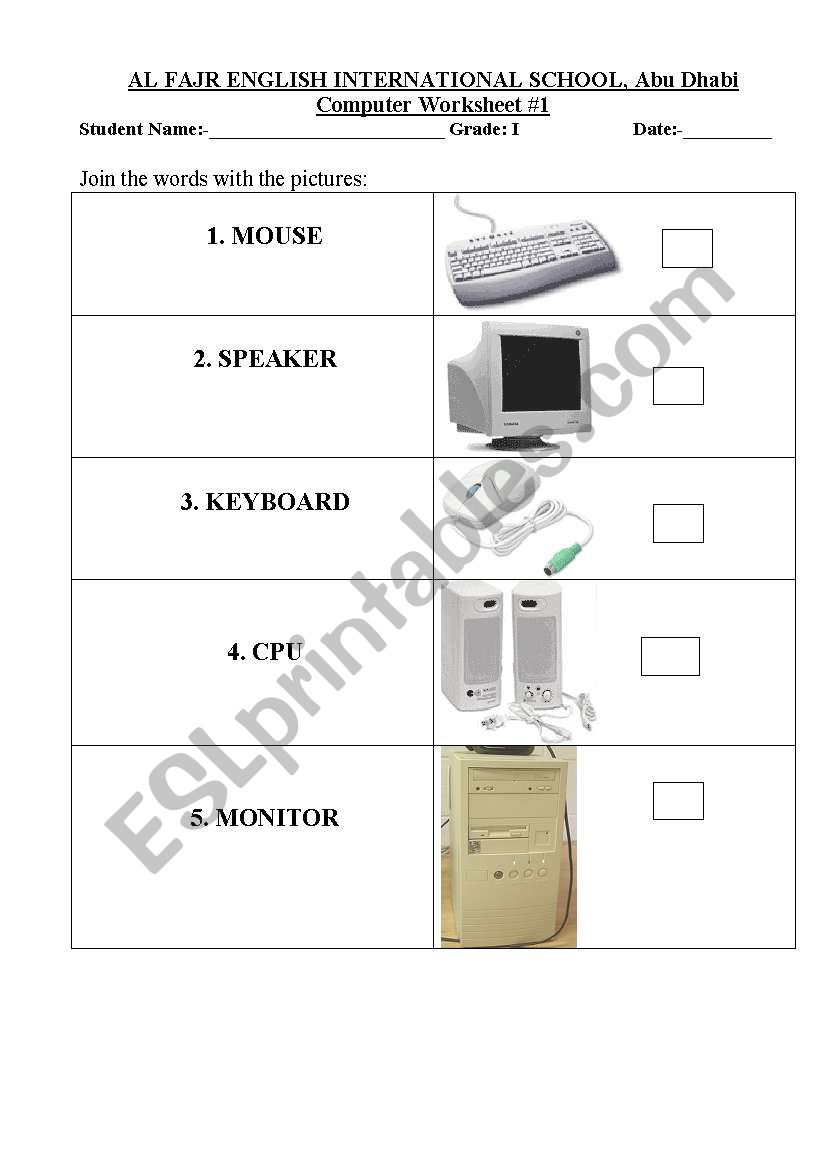hight resolution of English worksheets: computer devices