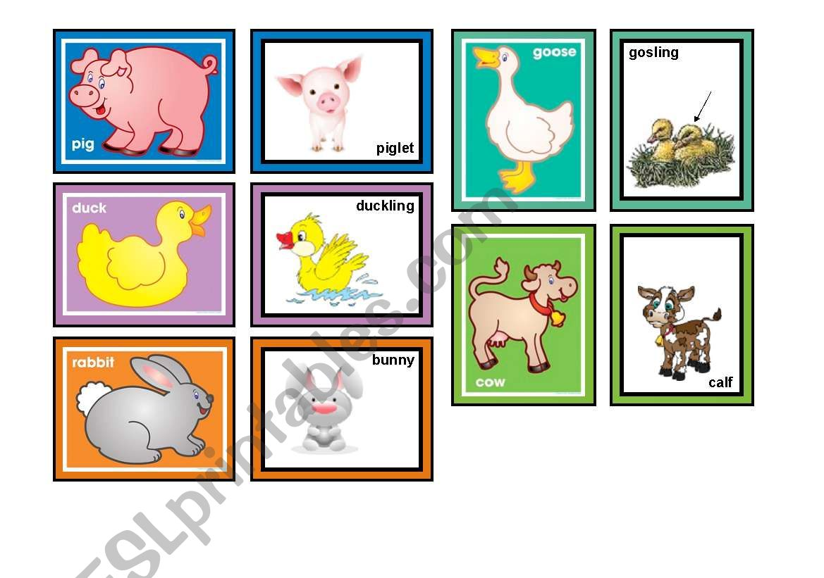 Farm Animals Matching Game Part 1 Of 2 30 Cards In The