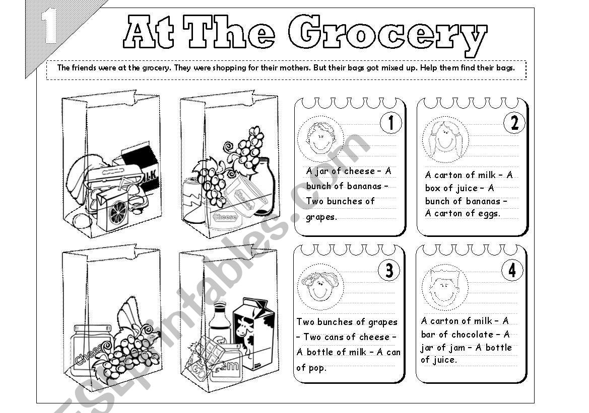 At The Grocery Food Quantity 2 Pages