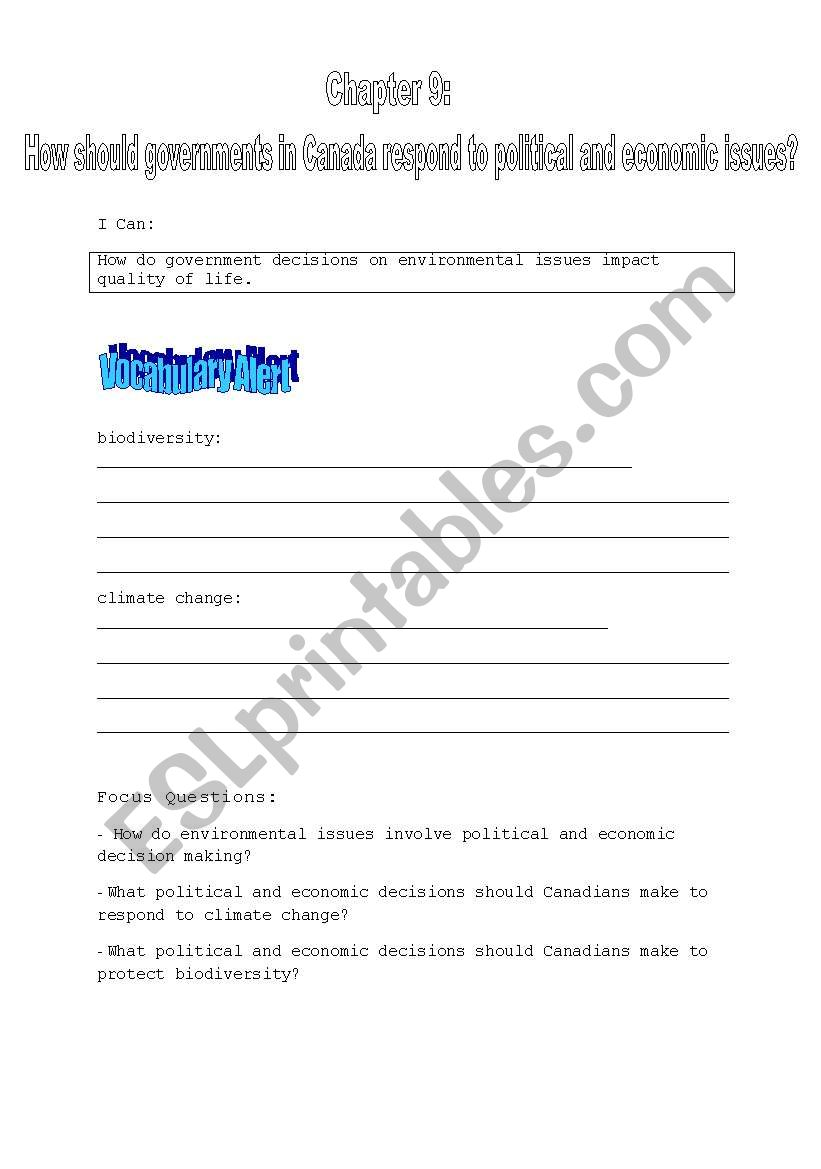hight resolution of English worksheets: Social Studies 9 Ch. 9